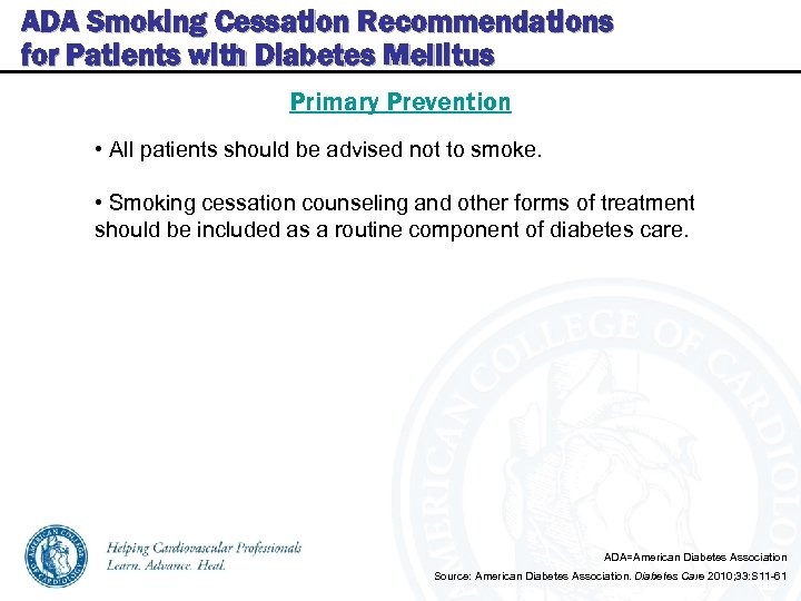 ADA Smoking Cessation Recommendations for Patients with Diabetes Mellitus Primary Prevention • All patients