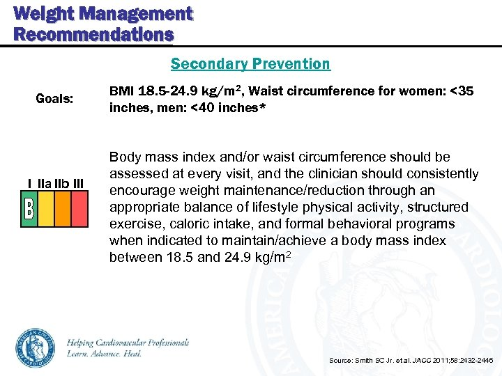 Weight Management Recommendations Secondary Prevention Goals: I IIa IIb III BMI 18. 5 -24.