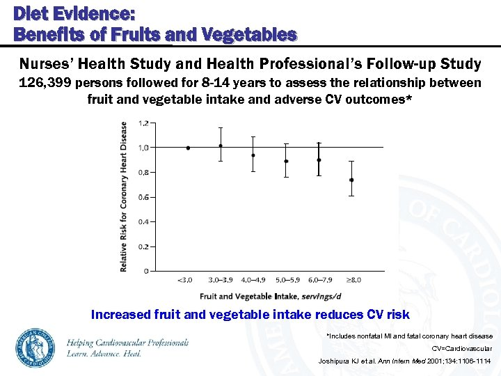 Diet Evidence: Benefits of Fruits and Vegetables Nurses' Health Study and Health Professional's Follow-up