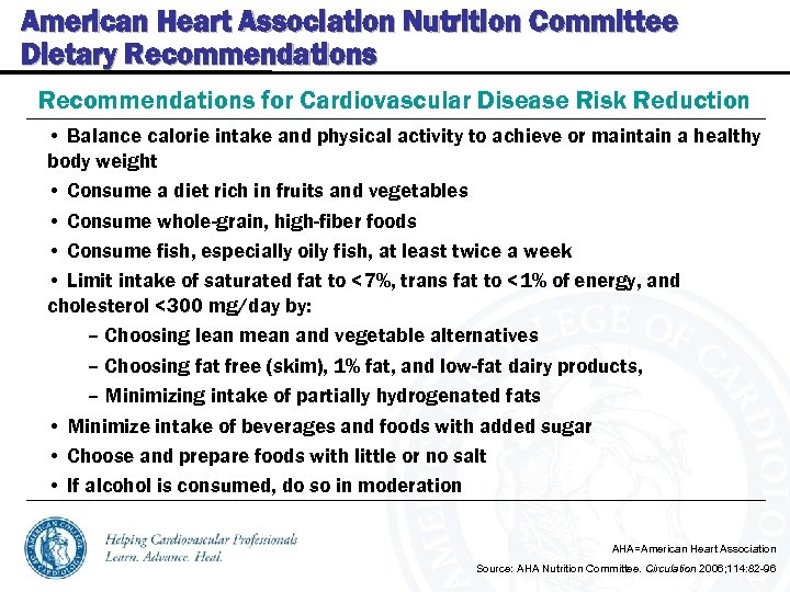 American Heart Association Nutrition Committee Dietary Recommendations for Cardiovascular Disease Risk Reduction • Balance