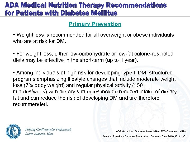 ADA Medical Nutrition Therapy Recommendations for Patients with Diabetes Mellitus Primary Prevention • Weight