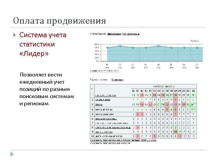 Оплата продвижения Система учета статистики «Лидер» Позволяет вести ежедневный учет позиций по разным поисковым