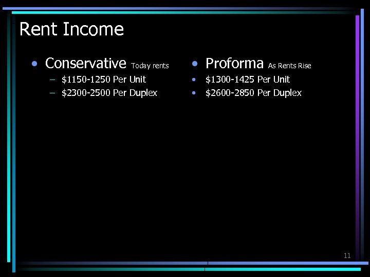 Rent Income • Conservative Today rents – $1150 -1250 Per Unit – $2300 -2500