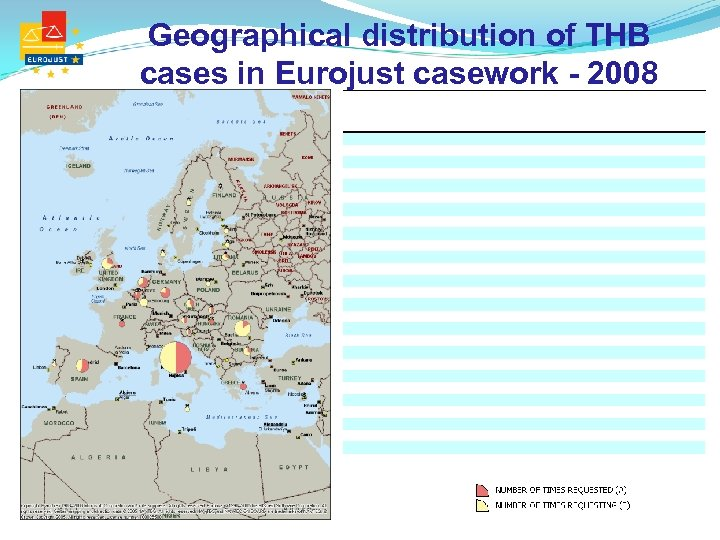Geographical distribution of THB cases in Eurojust casework - 2008