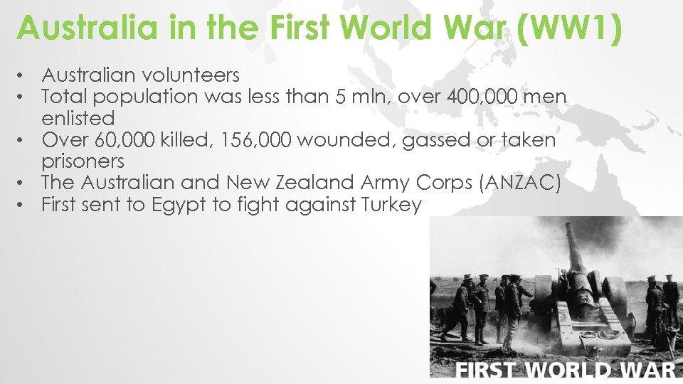Australia in the First World War (WW 1) • Australian volunteers • Total population