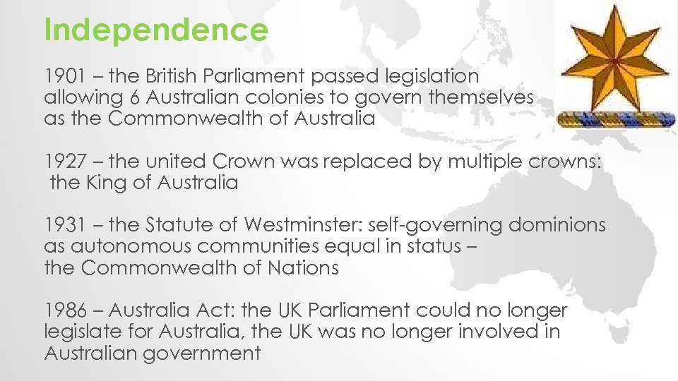Independence 1901 – the British Parliament passed legislation allowing 6 Australian colonies to govern