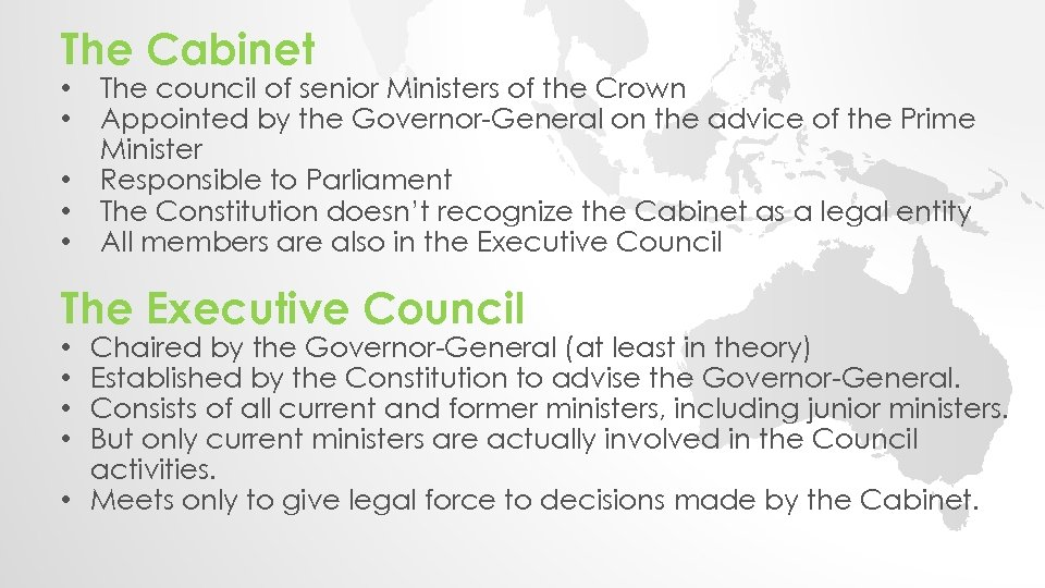 The Cabinet • • • The council of senior Ministers of the Crown Appointed