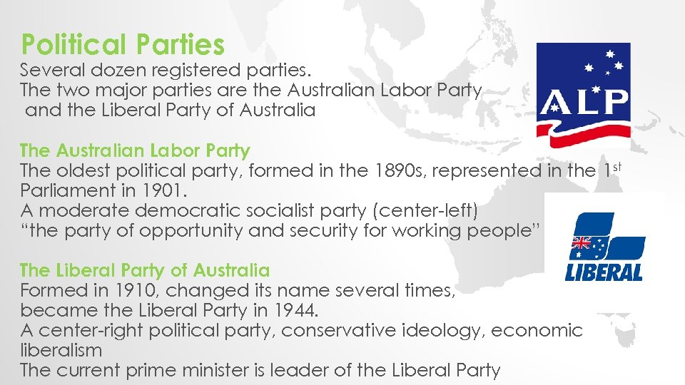 Political Parties Several dozen registered parties. The two major parties are the Australian Labor