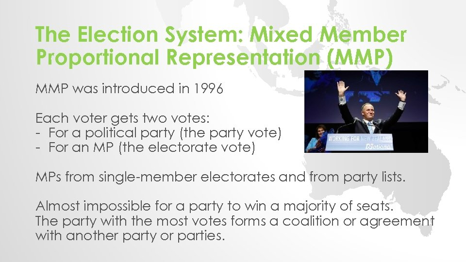 The Election System: Mixed Member Proportional Representation (MMP) MMP was introduced in 1996 Each