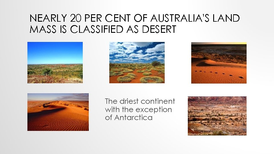 NEARLY 20 PER CENT OF AUSTRALIA'S LAND MASS IS CLASSIFIED AS DESERT The driest