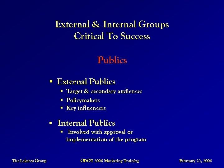 External & Internal Groups Critical To Success Publics § External Publics § Target &