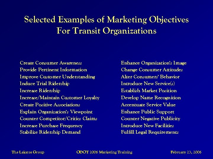 Selected Examples of Marketing Objectives For Transit Organizations Create Consumer Awareness Provide Pertinent Information