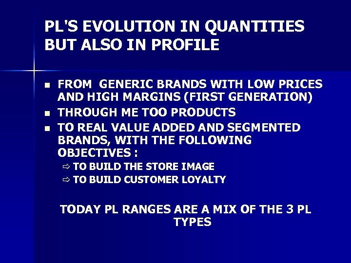 PL'S EVOLUTION IN QUANTITIES BUT ALSO IN PROFILE n n n FROM GENERIC BRANDS