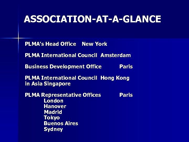 ASSOCIATION-AT-A-GLANCE PLMA's Head Office New York PLMA International Council Amsterdam Business Development Office Paris