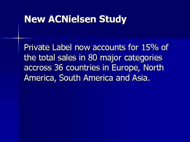New ACNielsen Study Private Label now accounts for 15% of the total sales in
