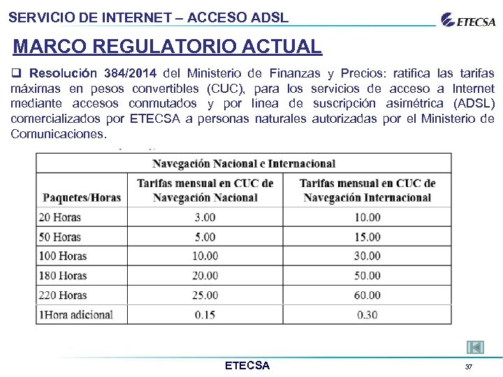 SERVICIO DE INTERNET – ACCESO ADSL MARCO REGULATORIO ACTUAL q Resolución 384/2014 del Ministerio