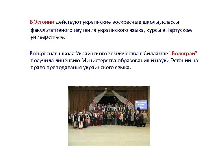 В Эстонии действуют украинские воскресные школы, классы факультативного изучения украинского языка, курсы в Тартуском