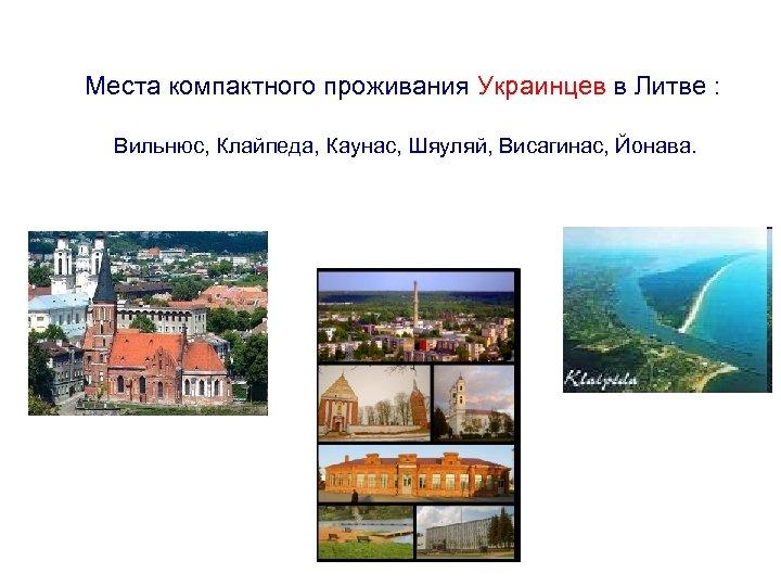 Места компактного проживания Украинцев в Литве : Вильнюс, Клайпеда, Каунас, Шяуляй, Висагинас, Йонава.