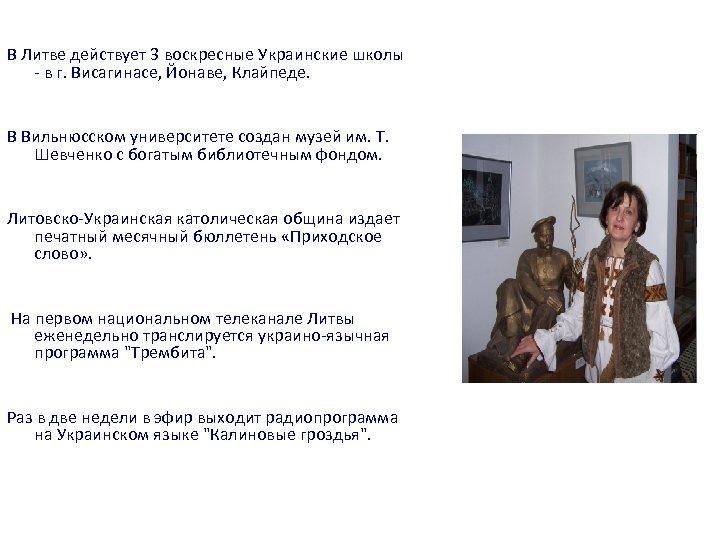 В Литве действует 3 воскресные Украинские школы - в г. Висагинасе, Йонаве, Клайпеде. В