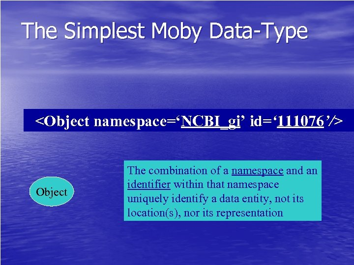 The Simplest Moby Data-Type <Object namespace='NCBI_gi' id=' 111076'/> Object The combination of a namespace