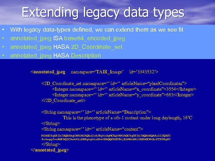 Extending legacy data types • • With legacy data-types defined, we can extend them