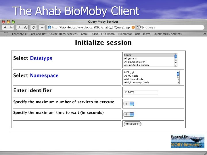 The Ahab Bio. Moby Client