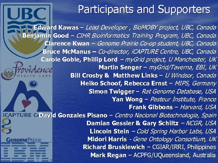 Participants and Supporters Edward Kawas – Lead Developer , Bio. MOBY project, UBC, Canada