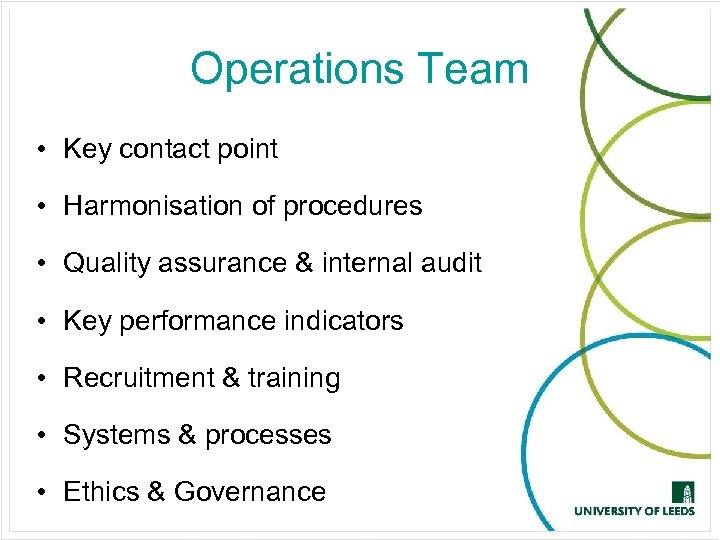 Operations Team • Key contact point • Harmonisation of procedures • Quality assurance &