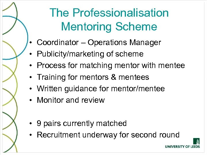 The Professionalisation Mentoring Scheme • • • Coordinator – Operations Manager Publicity/marketing of scheme