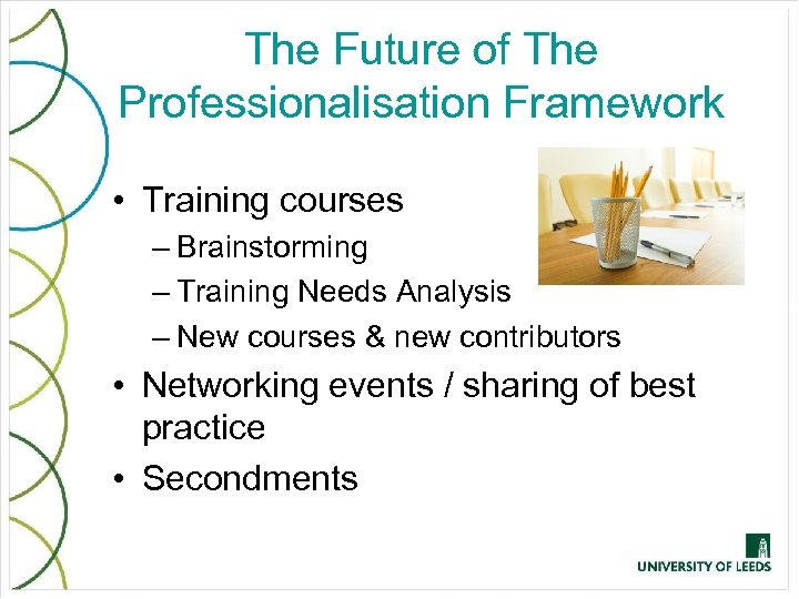 The Future of The Professionalisation Framework • Training courses – Brainstorming – Training Needs