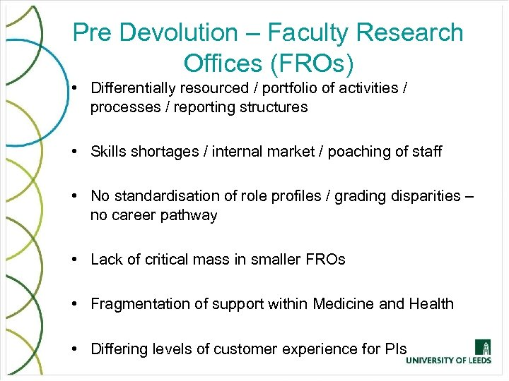 Pre Devolution – Faculty Research Offices (FROs) • Differentially resourced / portfolio of activities