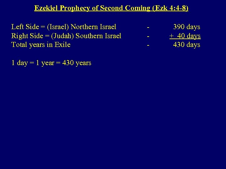 Ezekiel Prophecy of Second Coming (Ezk 4: 4 -8) Left Side = (Israel) Northern