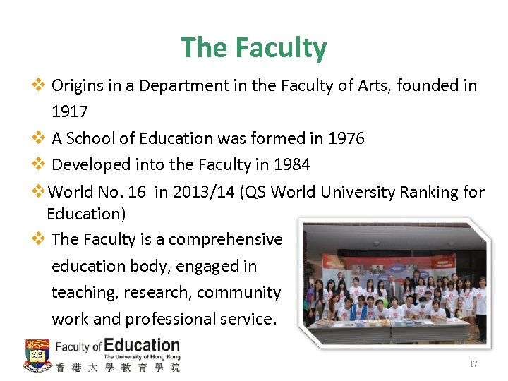 The Faculty v Origins in a Department in the Faculty of Arts, founded in