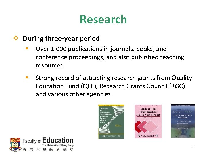 Research v During three-year period § Over 1, 000 publications in journals, books, and