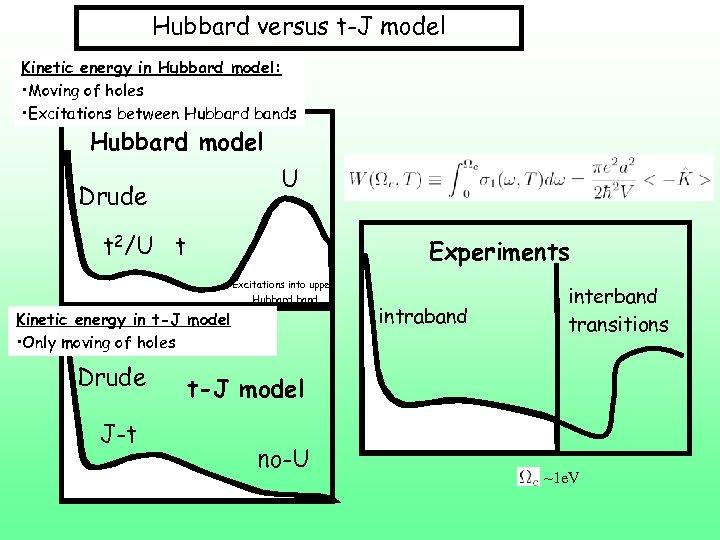 Hubbard versus t-J model Kinetic energy in Hubbard model: • Moving of holes •