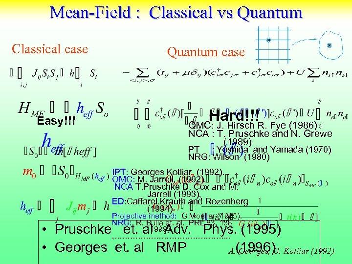 Mean-Field : Classical vs Quantum Classical case Easy!!! Quantum case Hard!!!R. Fye (1986) QMC: