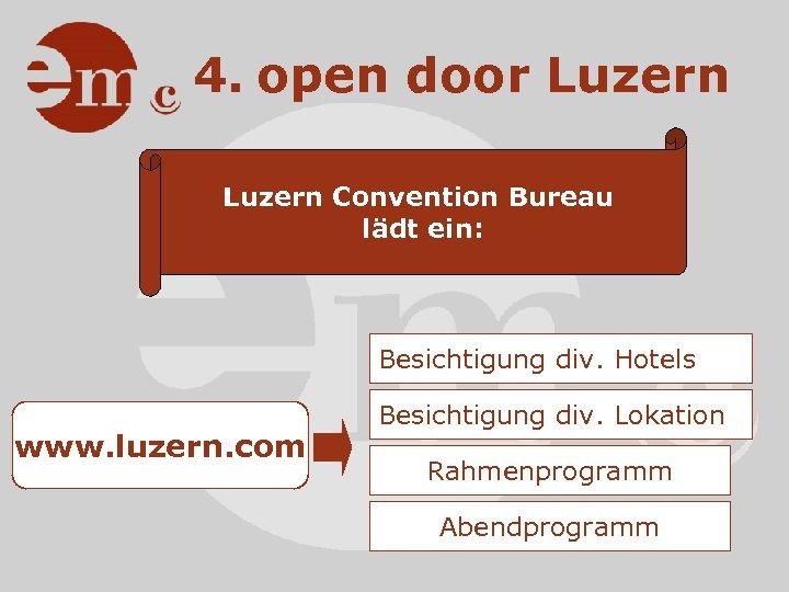 4. open door Luzern Convention Bureau lädt ein: Besichtigung div. Hotels www. luzern. com