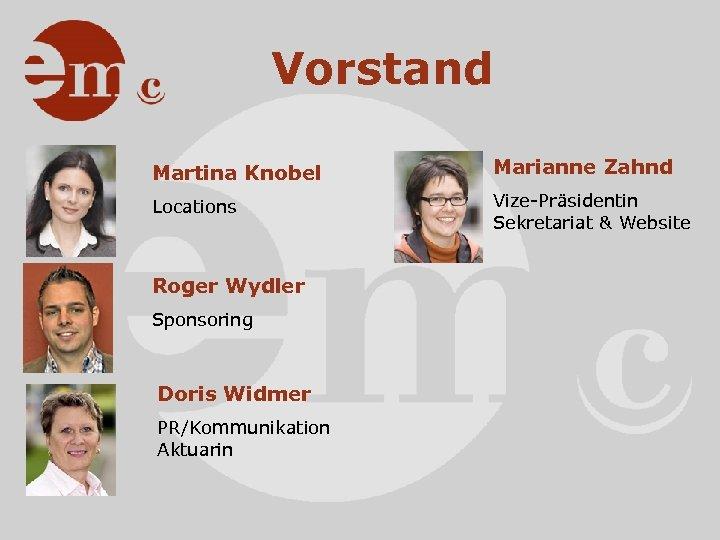 Vorstand Martina Knobel Marianne Zahnd Locations Vize-Präsidentin Sekretariat & Website Roger Wydler Sponsoring Doris