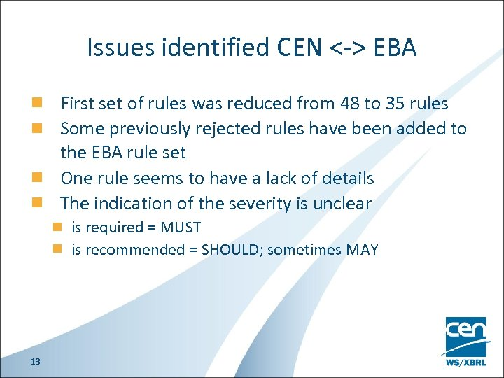 Issues identified CEN <-> EBA First set of rules was reduced from 48 to