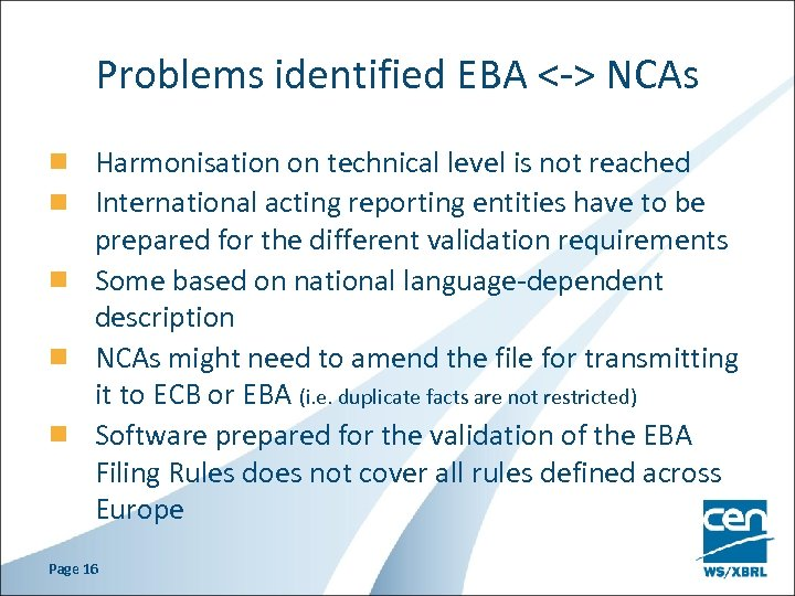 Problems identified EBA <-> NCAs Harmonisation on technical level is not reached International acting