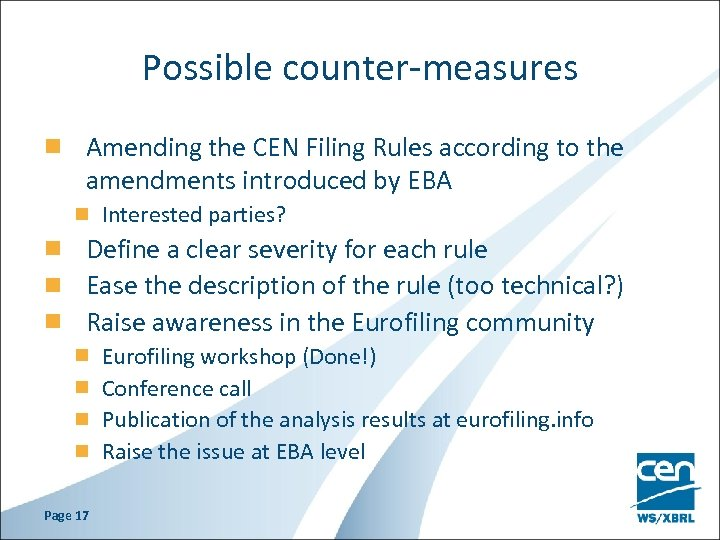 Possible counter-measures Amending the CEN Filing Rules according to the amendments introduced by EBA