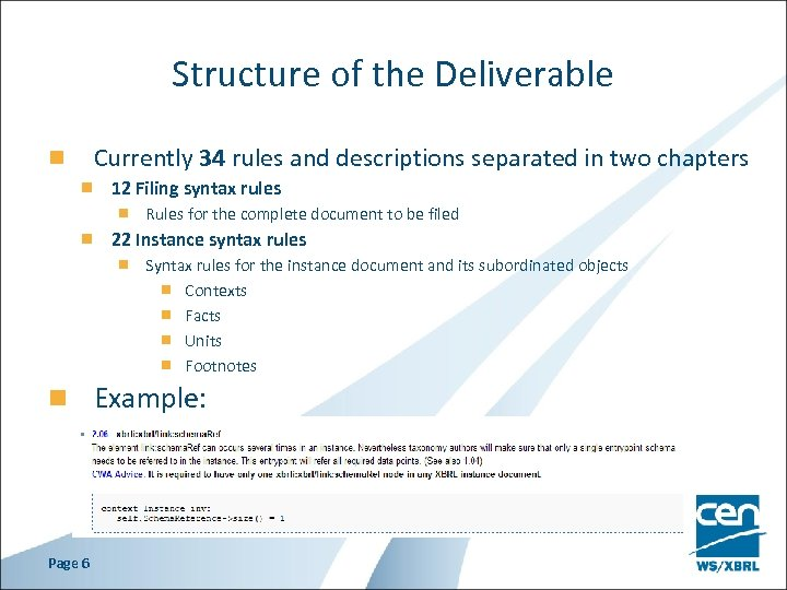Structure of the Deliverable Currently 34 rules and descriptions separated in two chapters 12