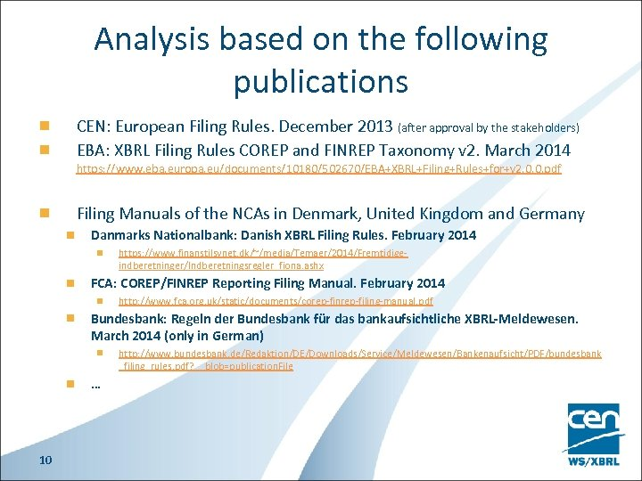 Analysis based on the following publications CEN: European Filing Rules. December 2013 (after approval