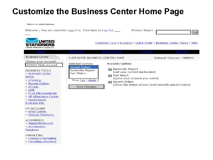 Customize the Business Center Home Page