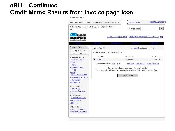 e. Bill – Continued Credit Memo Results from Invoice page Icon
