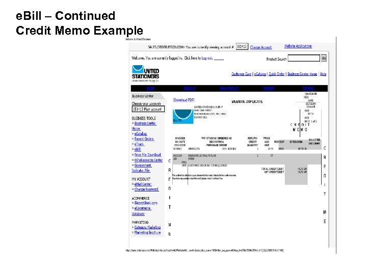 e. Bill – Continued Credit Memo Example