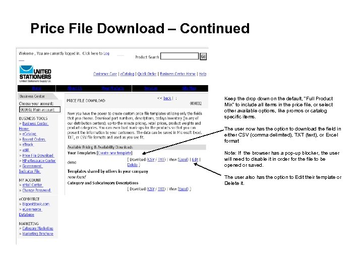"""Price File Download – Continued Keep the drop down on the default, """"Full Product"""