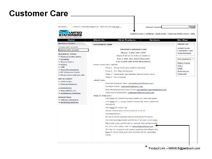 Customer Care * Product Link – WWW. Biggestbook. com