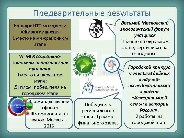 Предварительные результаты Восьмой Московский экологический форум учащихся II место на окружном этапе; сертификат на