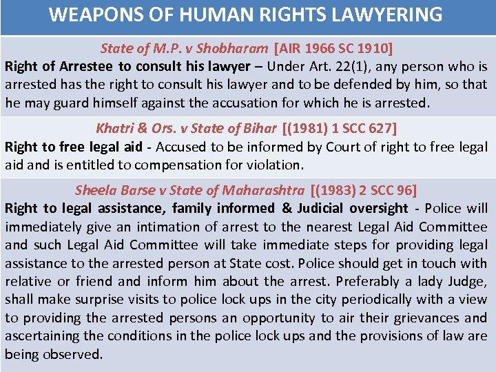 WEAPONS OF HUMAN RIGHTS LAWYERING State of M. P. v Shobharam [AIR 1966 SC